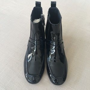 Escada Patent Black Boots size 38-1/2
